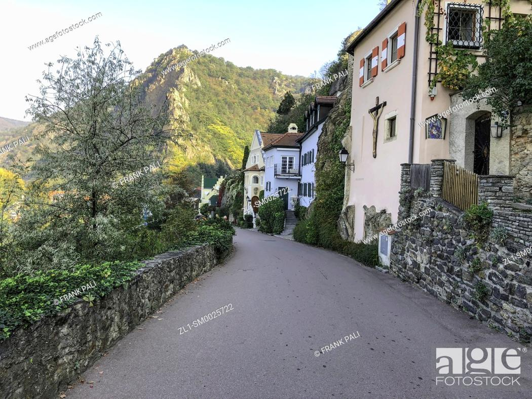 Stock Photo: The pretty town of Dürnstein, on an impossibly photogenic curve in the Danube, ... and has gained a name for itself as Austria's premier winemaking region.