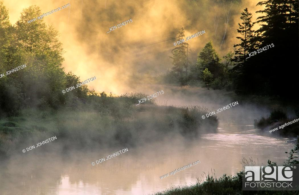 Stock Photo: Morning mists over a river, Greater Sudbury, Ontario, Canada.
