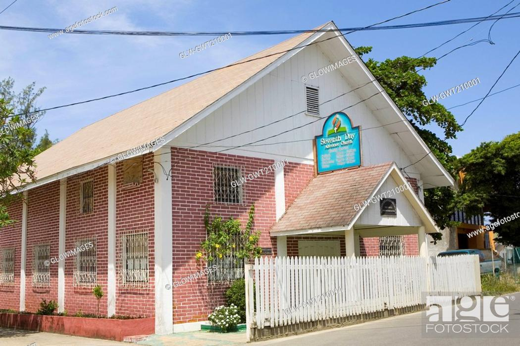 Stock Photo: Church at the roadside, Seventh-day Adventist, French Harbour, Roatan, Bay Islands, Honduras.