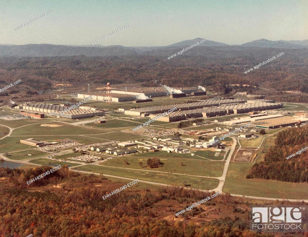 Stock Photo: Manhattan Project facility at Oak Ridge, Tennessee, ca. 1950. Then called the 'Energy Research and Development Administration'.