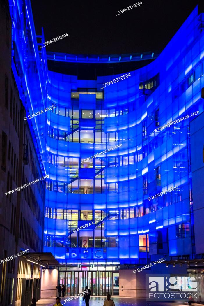 Stock Photo: BBC Broadcasting House, new eastern extension, Portland Place, London, England, UK.