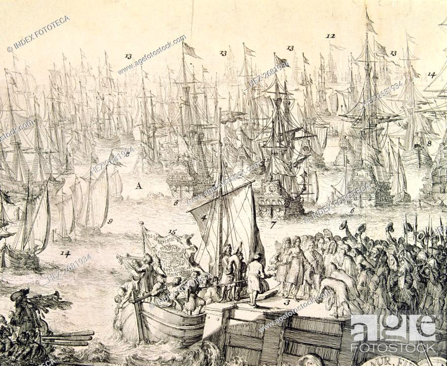 Stock Photo: Embarkation to England on 11th November 1688 of William III (1650 - 1702), called William of Oran?.