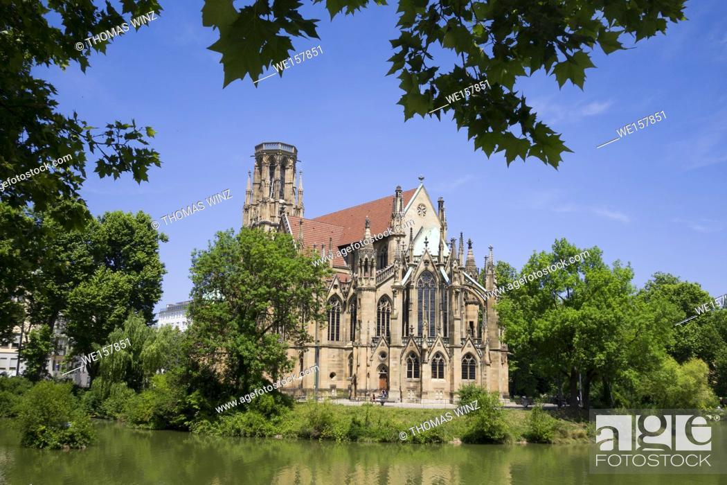 Stock Photo: St. John's church ( Johanneskirche ) at Feuersee in Stuttgart West.