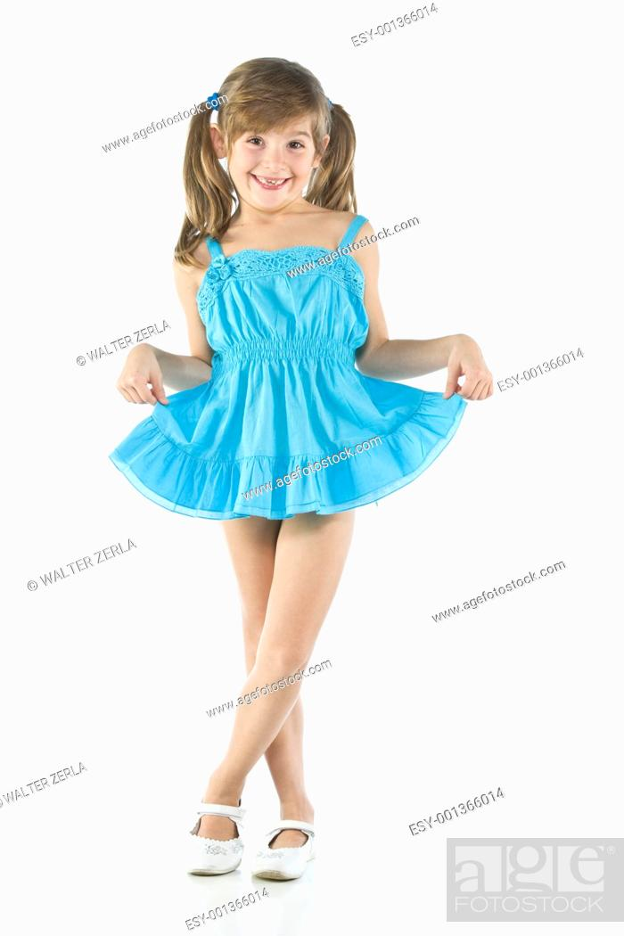 Stock Photo: girl with blue dress.