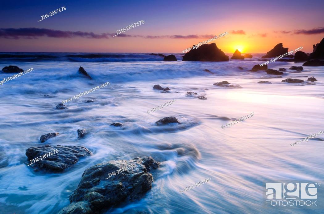 Stock Photo: Sea stacks at sunset, El Matador State Beach, Malibu, California USA.