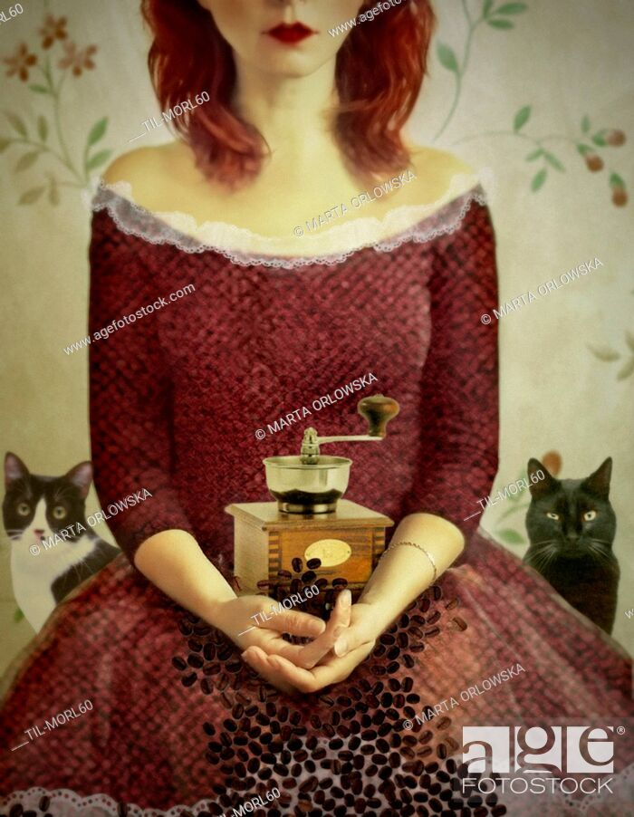 Stock Photo: Conceptual image of young woman sitting wearing a red dress with coffee mill and cats.