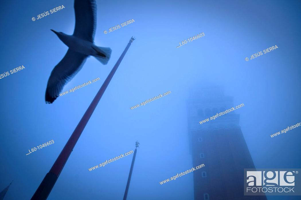 Stock Photo: Fog in Piazza San Marco, Venice, Italy.