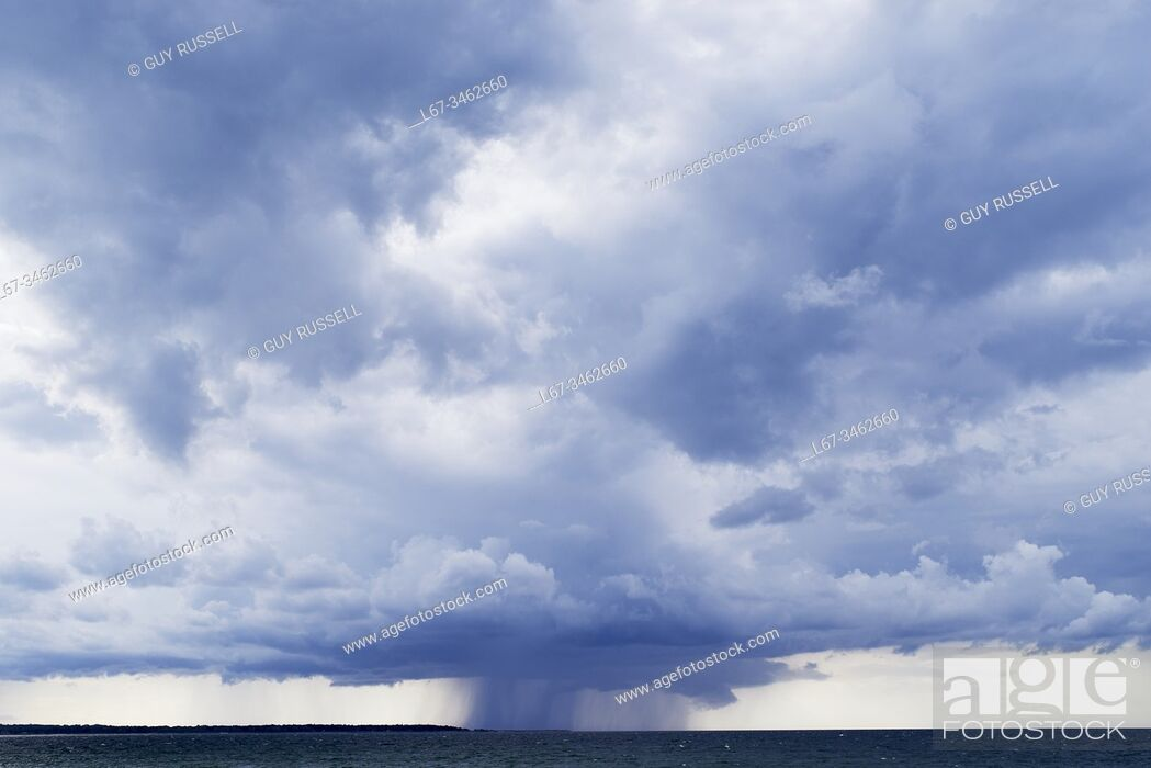 Stock Photo: A storm in Denmark as seen looking west from Hundested.