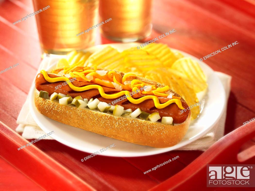 Stock Photo: Grilled hot dog with cheese, mustard, onions and relish.