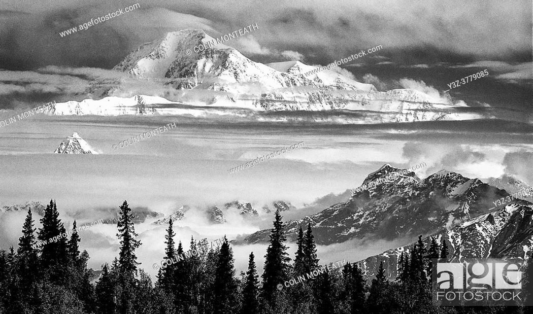 Stock Photo: Denali ( Mt McKinley) from Ranger Dave Johnston's log cabin near Talkeetna, Alaska.