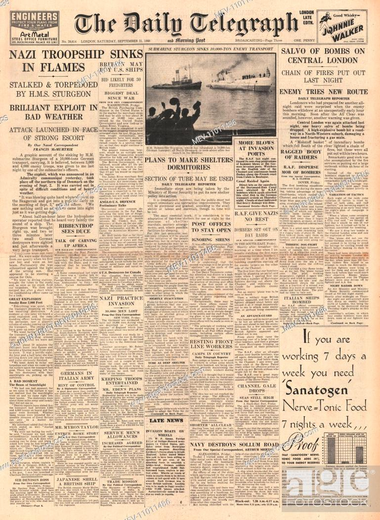 Stock P O 1940 Front Page Daily Telegraph Aldwych To Holborn Tunnel To Be Air Raid Shelter And Submarine Hms Sturgeon Sinks German Troop Ship