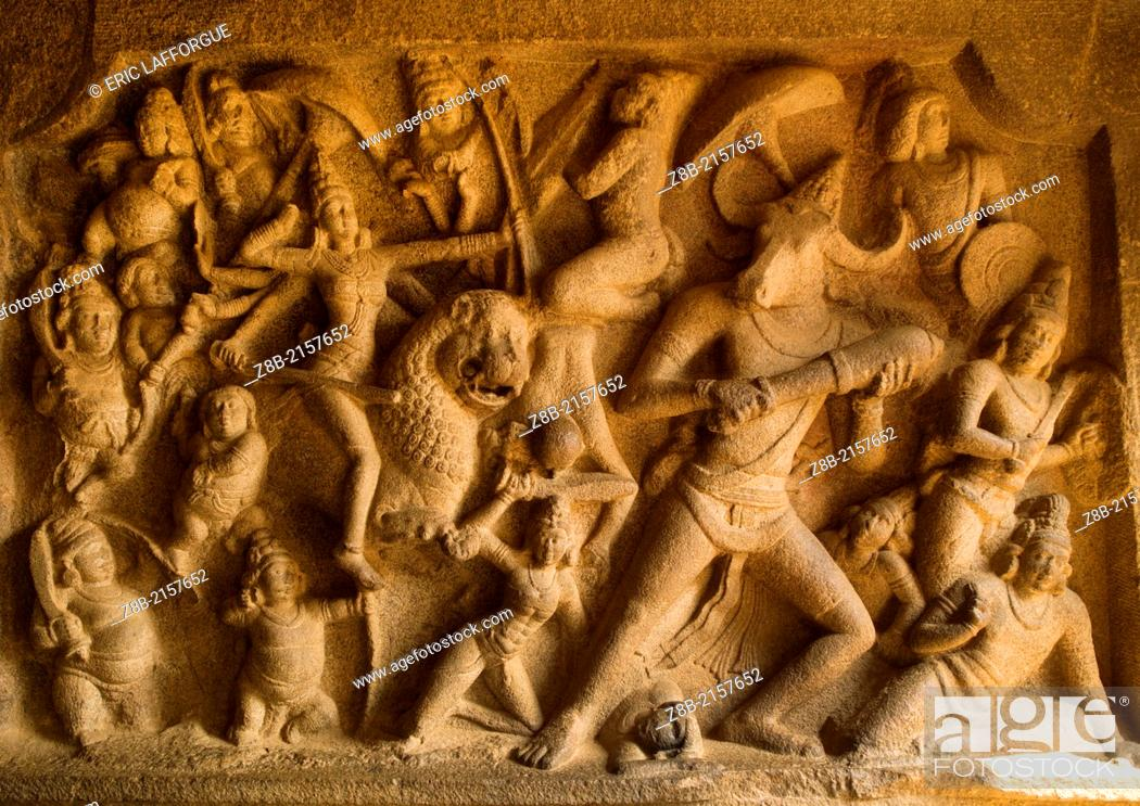 Stock Photo: Mahabalipuram or Mahabillipuram or Mammallapuram, its official name, is a small seaside town located in the northern part of Tamil Nadu.
