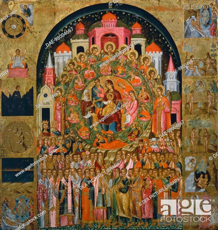 Stock Photo: The Glorification of the Virgin (In you all of creation is united), by Franghias Kavertzas, ca 1640, Icon.  Private Collection.