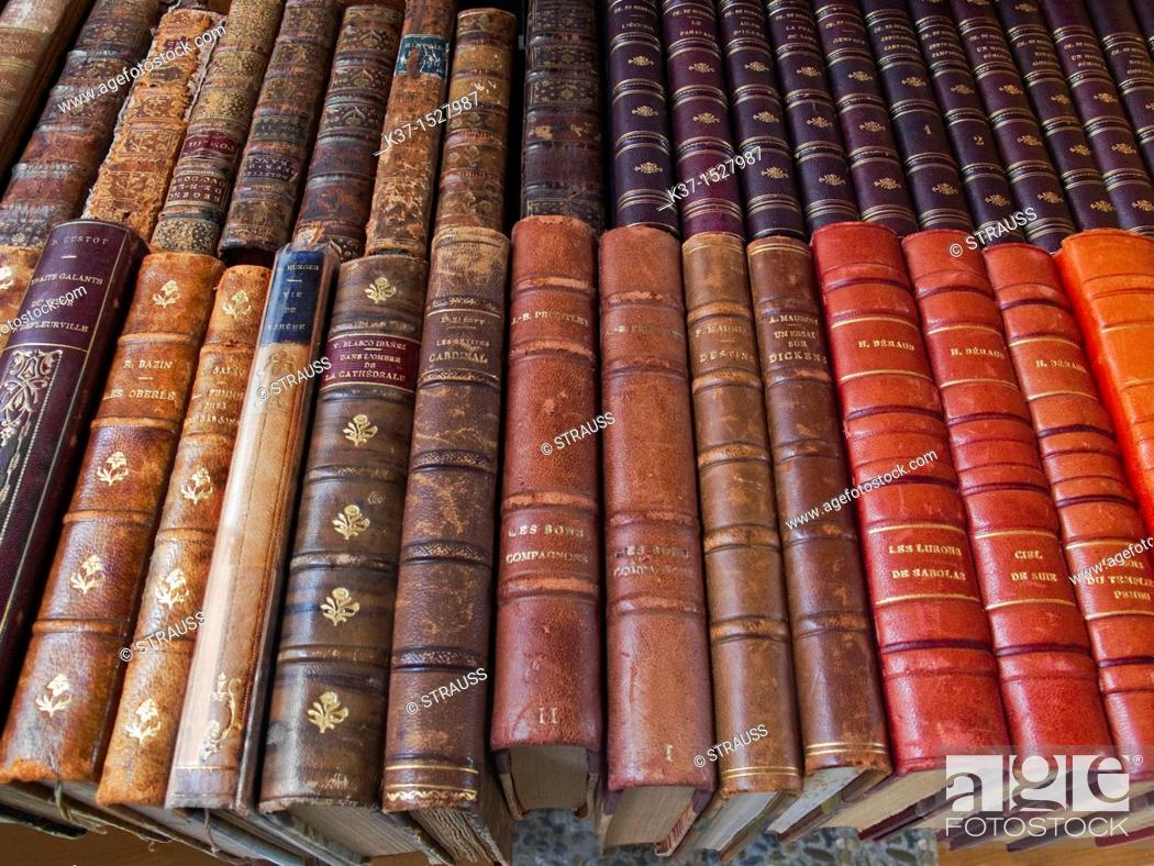 Stock Photo: Leather bound classical books.