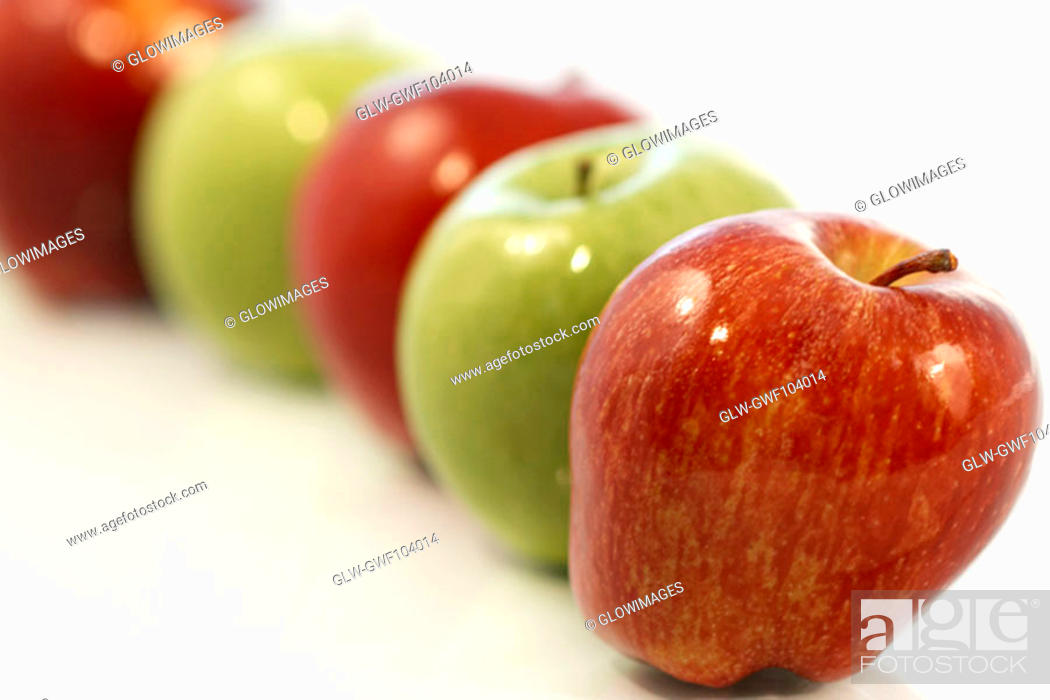 Stock Photo: Close-up of an array of red and green apples.