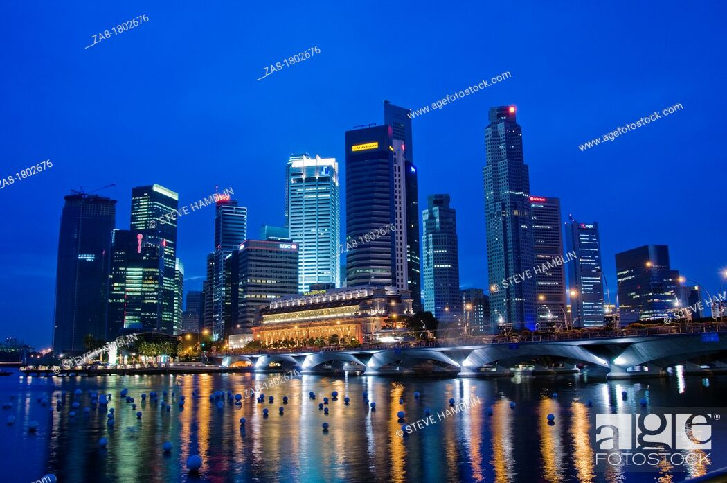 Stock Photo: City view of downtown Singapore at night.