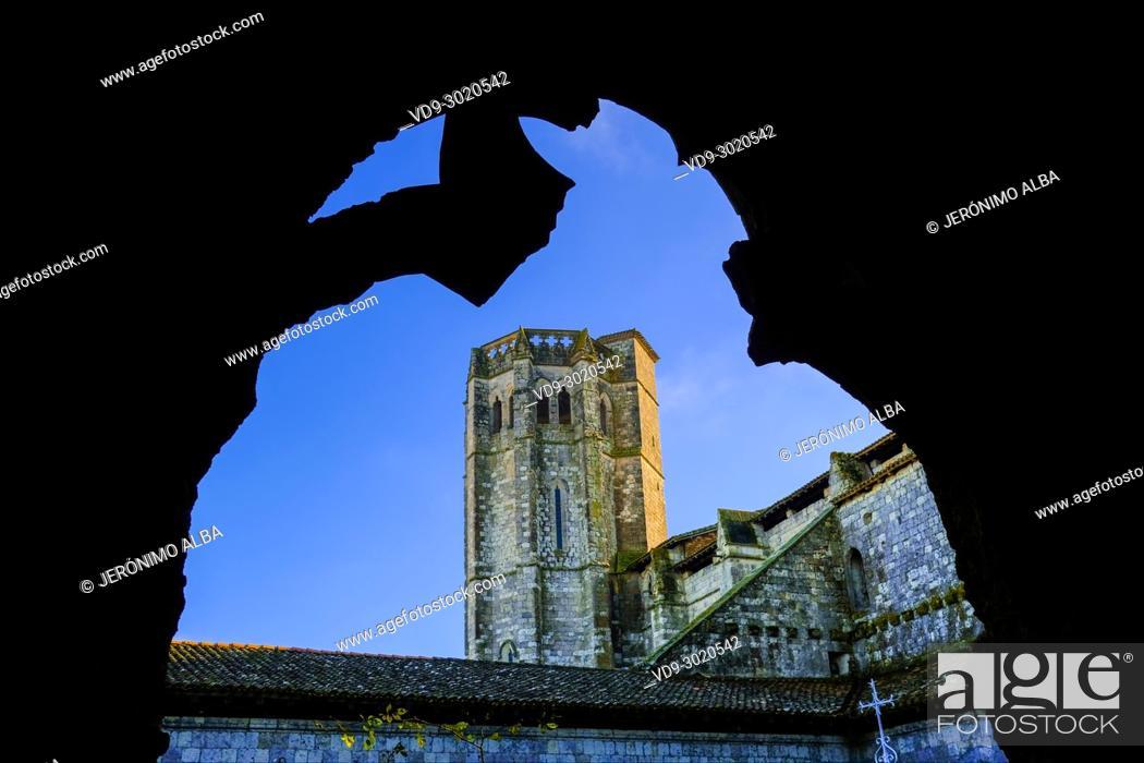 Photo de stock: Collegiate Saint-Pierre, cloister and tower. Village of La Romieu on the way of Saint Jacques de Compostelle. Le Gers Department, New Aquitaine, Midi Pyerenees.