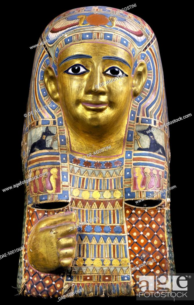 Stock Photo: Funerary mask, gilded and painted cartonnage, 42x26x40 cm. Egyptian Civilisation, Roman Empire, 1st century.  Cairo, Egyptian Museum.