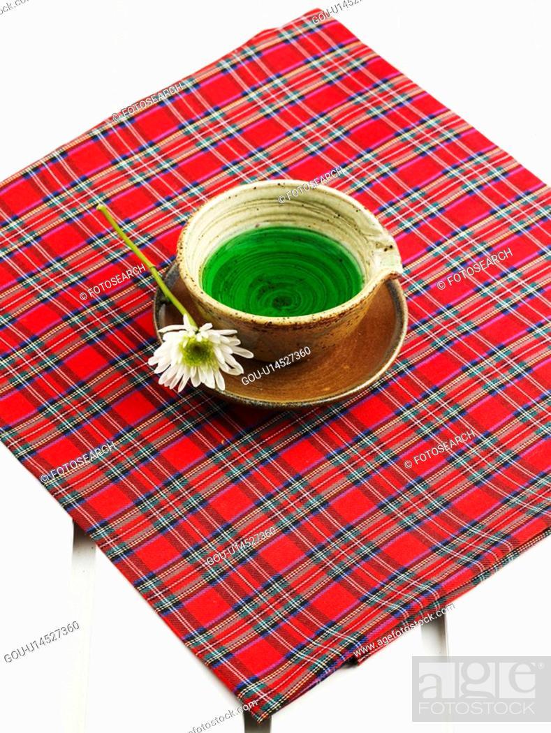 Stock Photo: tea-things, tea cup, mum, chrysanthemum, saucer, flower.