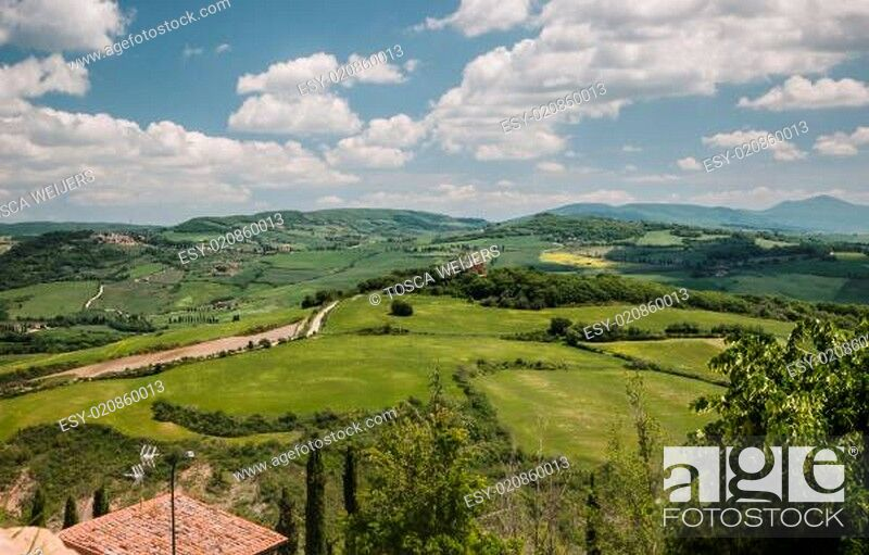 Stock Photo: Panoramic view on the Val d'Orcia in Tuscany.