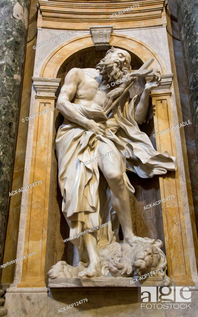 Stock Photo: Marble sculpture of Saint Jerome, by Gianlorenzo Bernini, Siena Cathedral , Duomo di Siena, is a medieval church in Siena, Italy.
