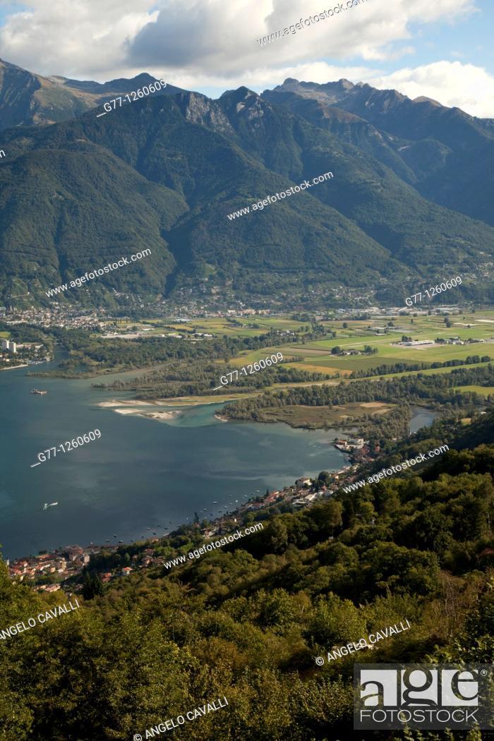 Stock Photo: River Tessin, Lake Maggiore, Canton Tessin, Switzerland.