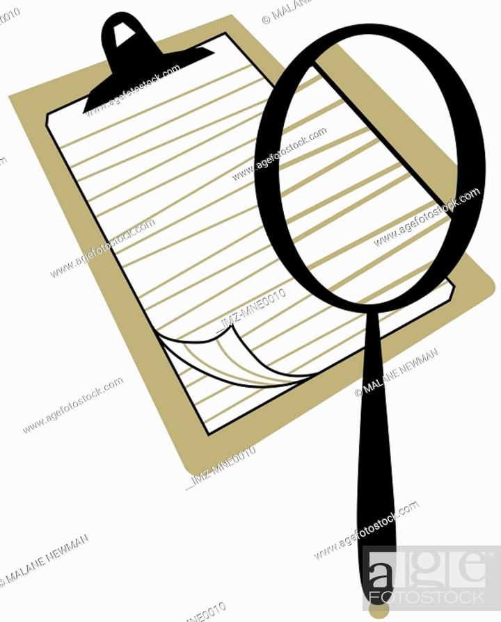 Stock Photo: A magnifying glass on a clipboard.