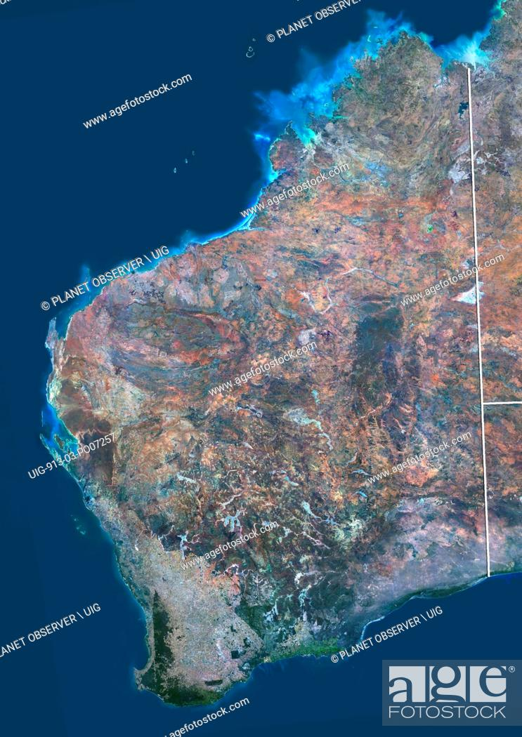 Imagen: Satellite view of Western Australia (with administrative boundaries). This image was compiled from data acquired by Landsat 8 satellite in 2014.