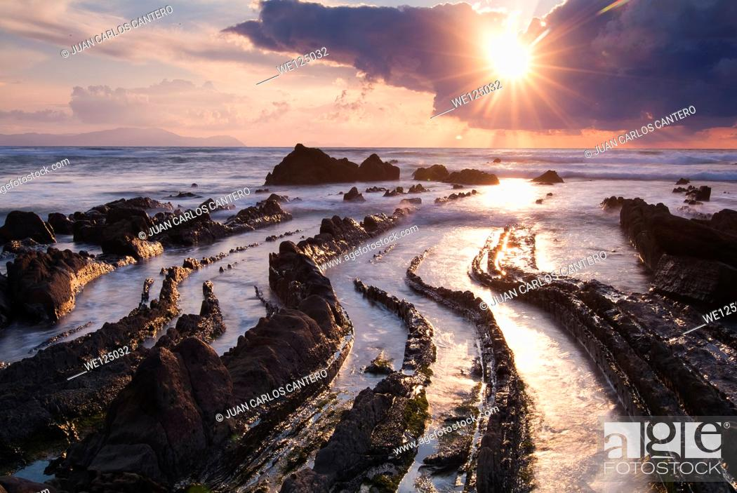 Stock Photo: Sunset on the beach Barrika. Vizcaya. Basque Country. Spain. Europe.