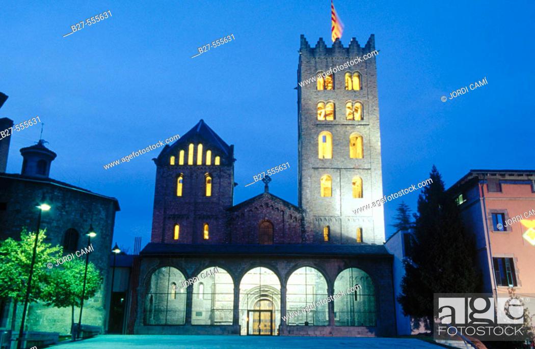 Stock Photo: Romanesque monastery of Santa María de Ripoll (12th century), Ripollès. Girona province, Catalonia, Spain.