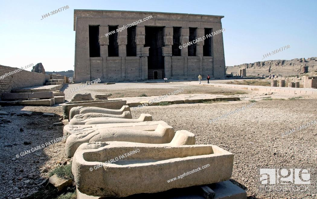 Stock Photo: Dendera Egypt, ptolemaic temple dedicated to the goddess Hathor: sarcophagi in the courtyard.
