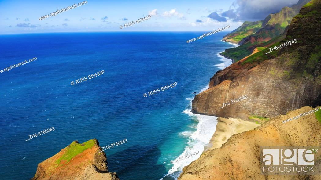 Stock Photo: The Na Pali Coast (aerial), Napali Coast Wilderness State Park, Kauai, Hawaii USA.