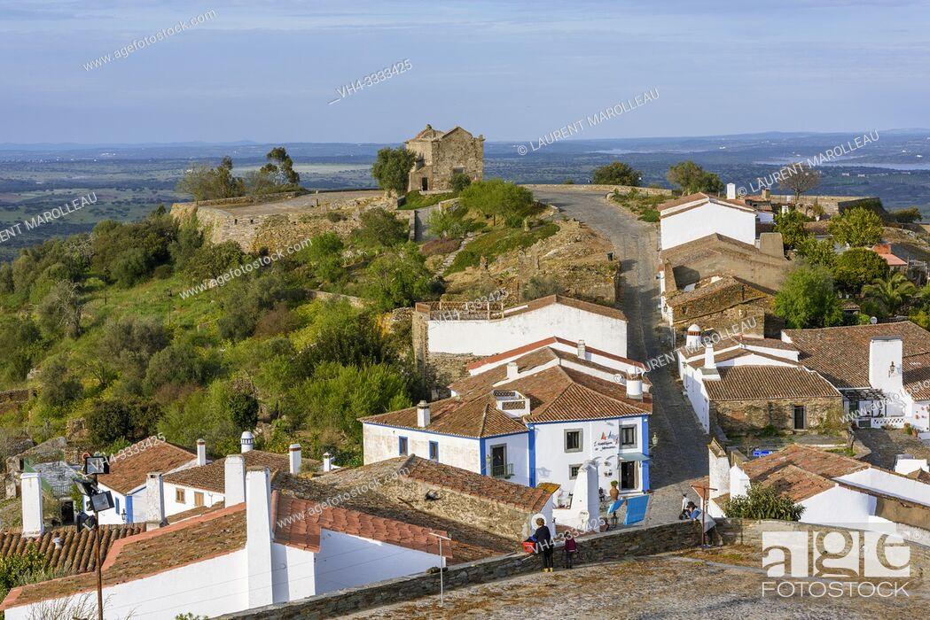 Stock Photo: Monsaraz village with Sao Bento Chapel or Ermida de Sao Bento, Reguengos de Monsaraz Municipality, Evora District, Alentejo Region, Portugal, Europe.