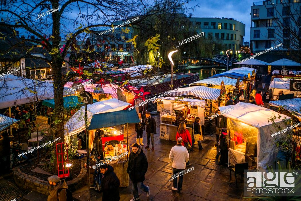 Stock Photo: England, London, Camden, Camden Market, outdoor food court, dusk.