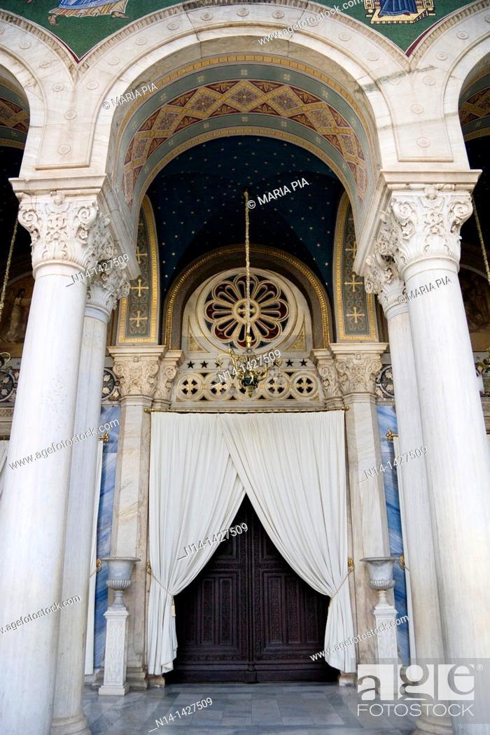 Stock Photo: Entrance of the Mitrópoli Metropolitan Cathedral of Athens, Greece.