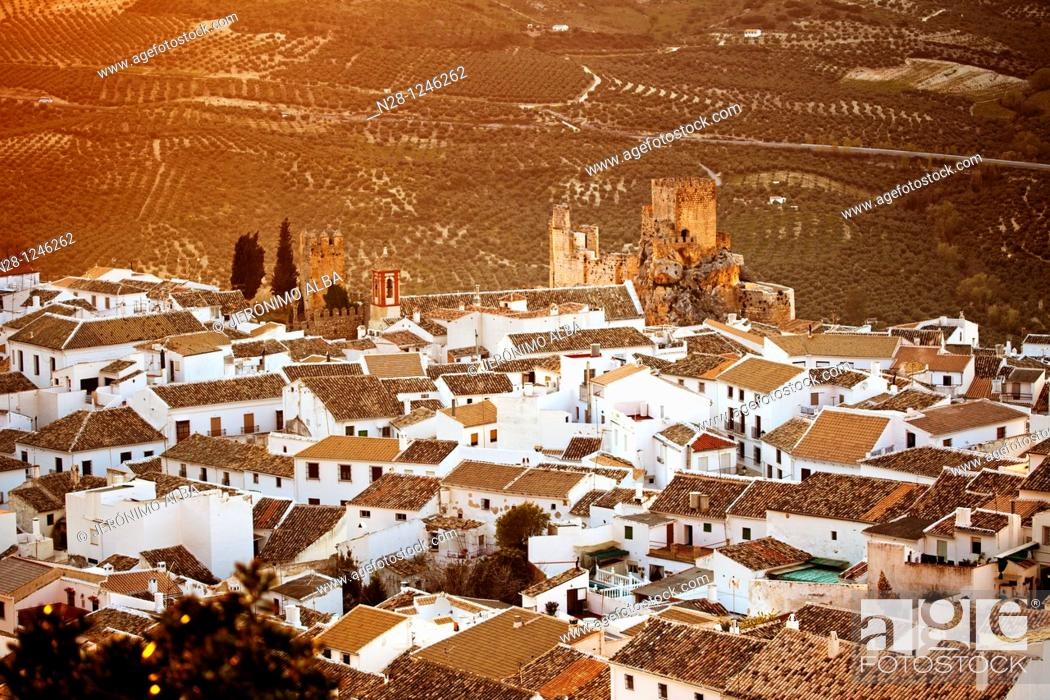 Stock Photo: Castle and village of Zuheros. Cordoba, Andalusia, Spain.