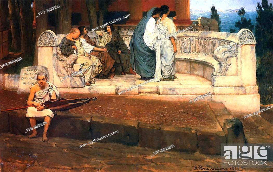 Imagen: Alma-Tadema Lawrence - an Exedra - British School - 19th Century.
