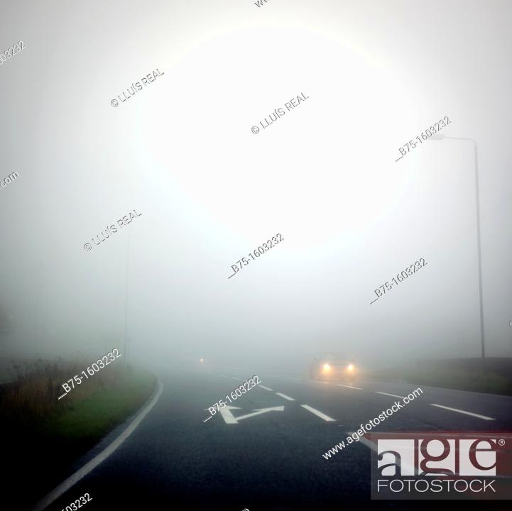 Stock Photo: Road, map, traffic, fog.