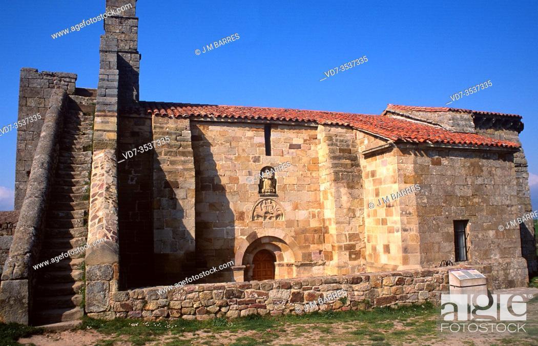 Stock Photo: Santa Maria de Retortillo, romanesque church 12th century. Cantabria, Spain.