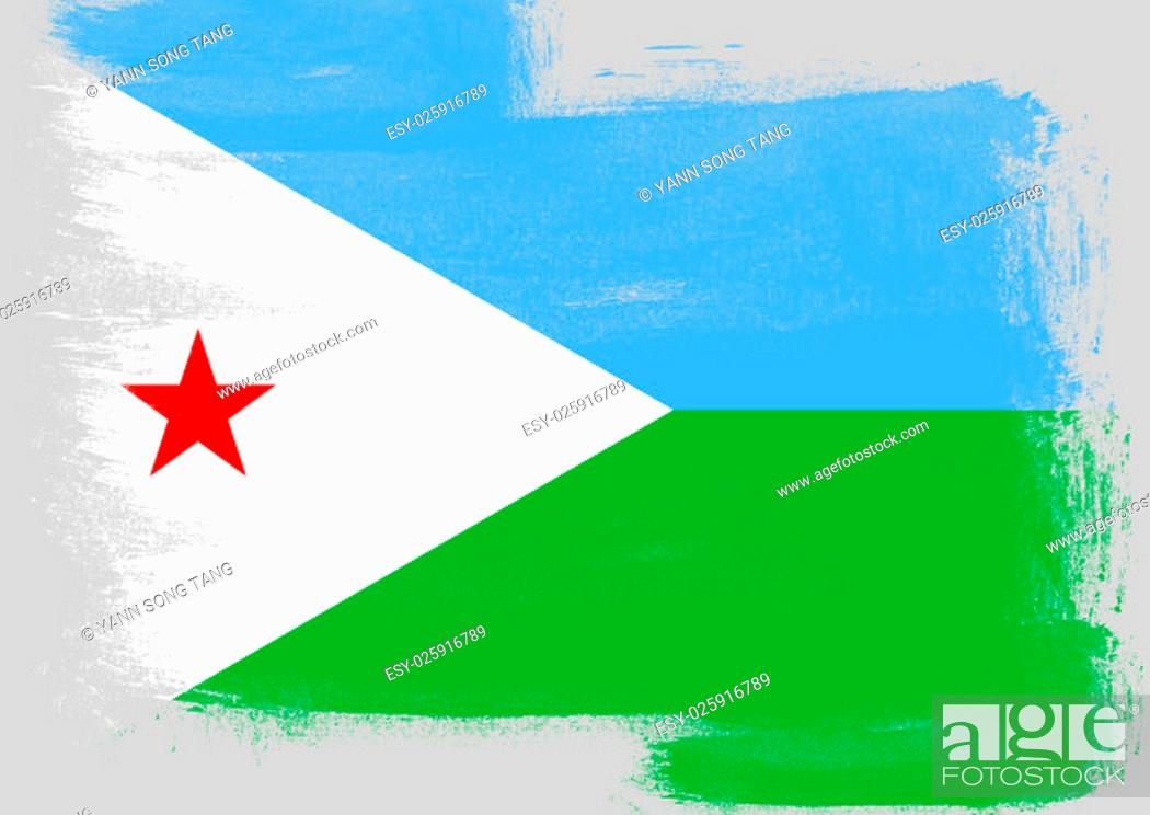 Stock Photo: Flag of Djibouti painted with brush on solid background,.