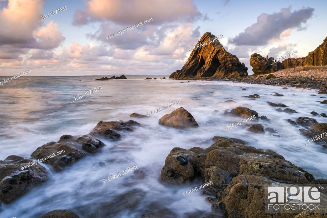 Stock Photo: Blackchurch Rock at Mouth Mill on the North Devon Heritage Coast near Clovelly, England.