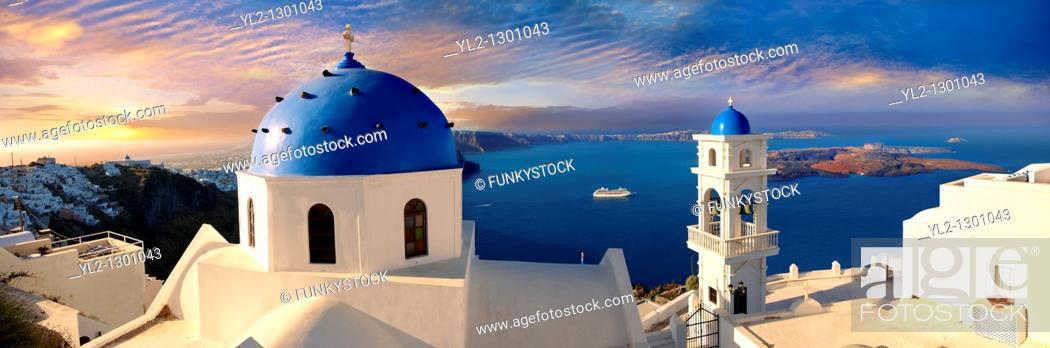 Stock Photo: Blue Domed church of Imerovigli, Santorini, Greece.