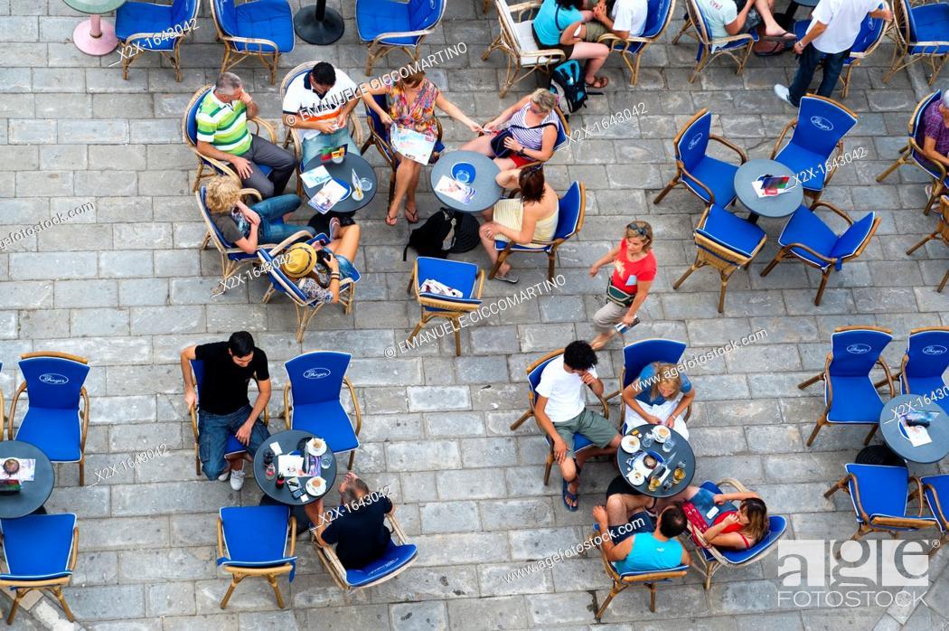 Stock Photo: Outdoor bar, John Paul II Square (Trg Ivana Pavla II), Trogir (Trau), region of Dalmatia, Croatia, Europe.