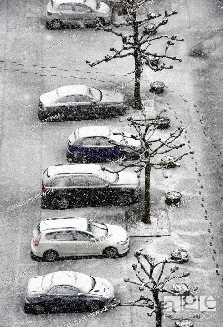 Stock Photo: parking lot in winter, view from above, Geneva, Switzerland.