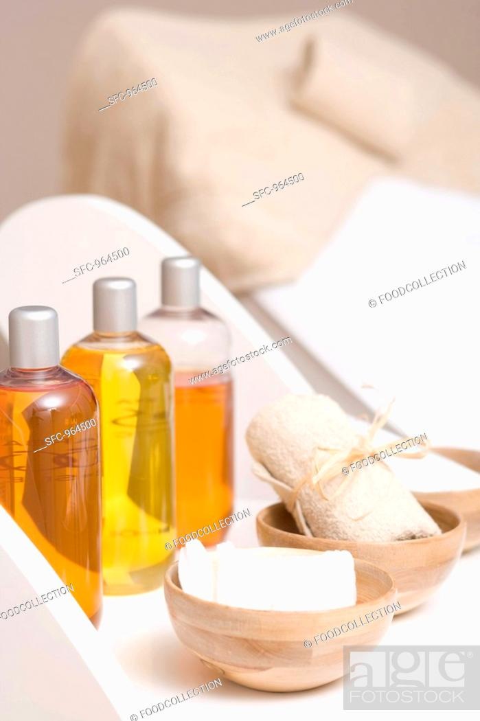 Stock Photo: Various body oils and equipment for beauty treatments.