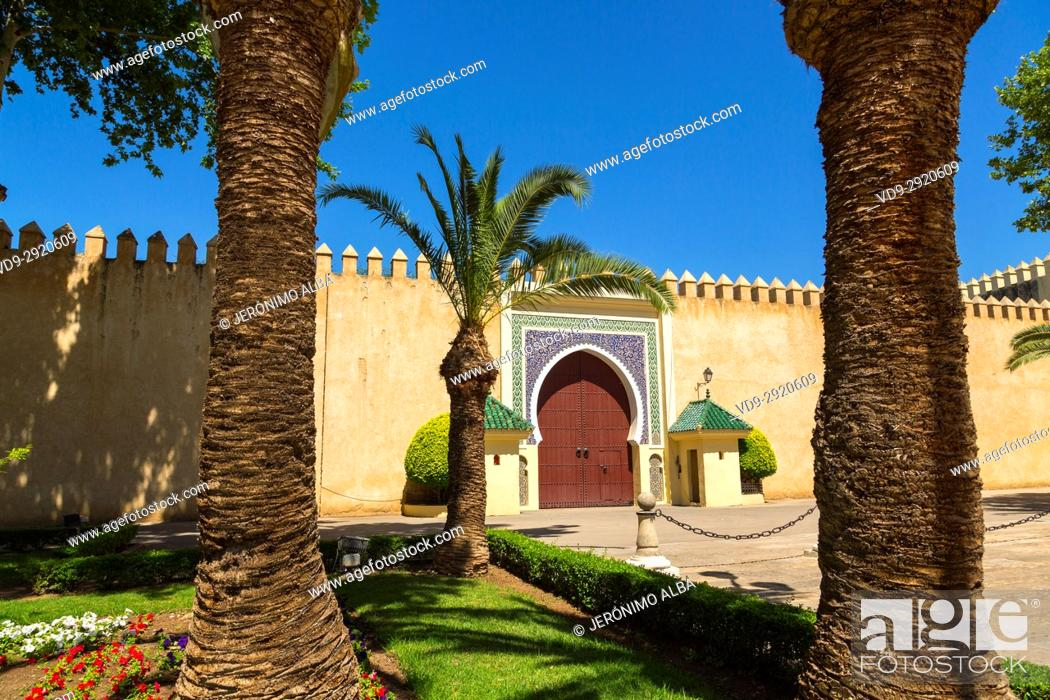 Stock Photo: Dar El Makhzen Royal Palace from Place des Alaouites, modern city of Fez, Fes el Bali. Morocco, Maghreb North Africa.