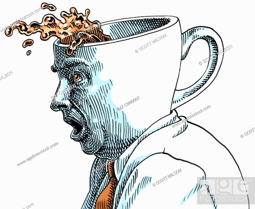 Stock Photo: Businessman with coffee cup shaped head.
