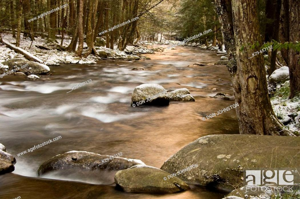 Stock Photo: Dusting of April snow around the Little River 'dogwood winter'. Great Smoky Mountains National Park, Tennessee, Appalachian, USA.