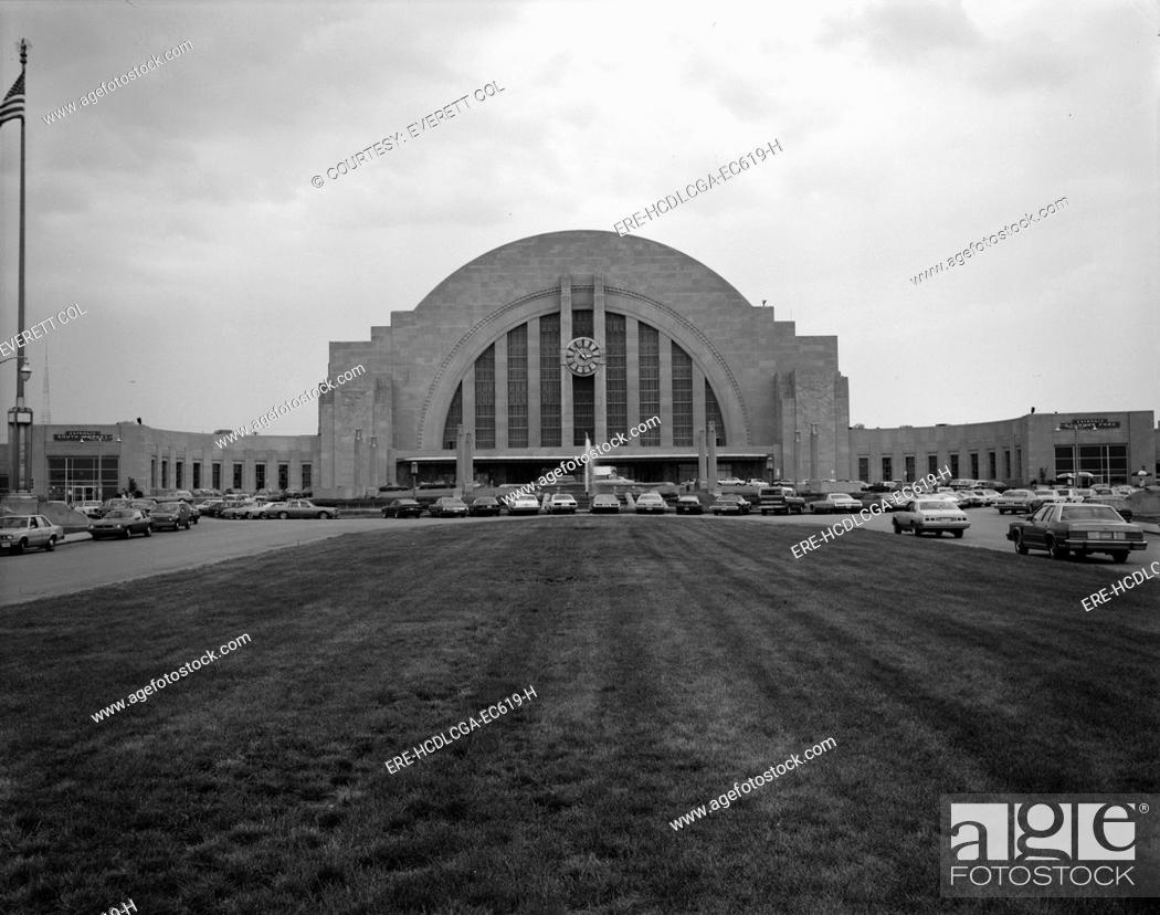Stock Photo: Cincinnati Union Terminal, constructed in 1933, partially demolished in 1974, Cincinnati, Ohio, photograph circa early 1970s.