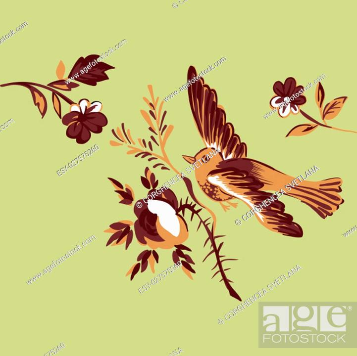 Stock Vector: Flying bird with branch of a rose isolated on beige, diagonal element design for greeting card, celebrate gift, invitation message.